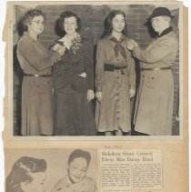 Image of leaf 52 front: photo pin ceremony 1940s?; newsclippings 1959, 1960