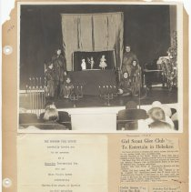 Image of leaf 53 front: newsclippings 1959, 1960; photo Xmas puppet show ca 1940s