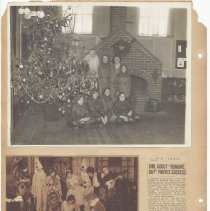 Image of leaf 53 back: newsclippings 1922, 1920s; photo Christmas pageant ca. 1940s