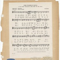 Image of leaf 56 front: music World Song 1950; newsclippings 1954, 1955, 1956