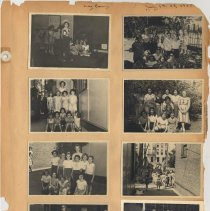 Image of leaf 10 front: 8 photos, day camp July 1950; troop 15, Oct 1950