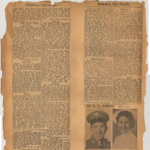 "Image of leaf 11 back: newsclippings, no date, circa 1946-1949, one item ""WWII"""