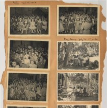 Image of leaf 15 front: 8 photos, sing, April 1950; day camp July 1950