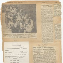 Image of leaf 19 back: registration form day Camp Sycamore + newsclippings 1950
