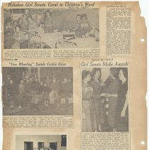 Image of leaf 27 back: newsclipping 1952, 1953; photo 1952 or 1953