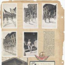 Image of leaf 28 back: 5 photos 1954 parade; 1920 photo; 1954 newsclipping & docs