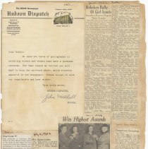 Image of leaf 34 back: newsclippings, 1952, 1953, letter 1951