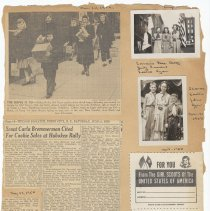 Image of leaf 37 front (back blank): 2 photos 1950; newsclippings 1950; document