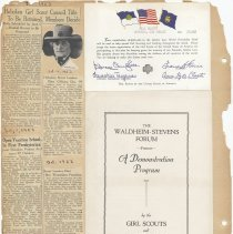Image of leaf 39 back: newscippings & certificate 1953; Forum program 1940