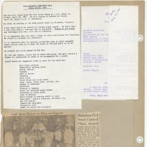 Image of leaf 43 back: documents 1961, 1965; newsclipping costumes Stevens ca 1920s