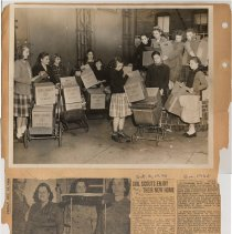 Image of leaf 06 back: photo Girl Scout Cookies group; newsclippings 1920, 1959