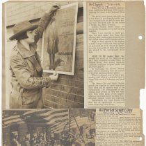 Image of leaf 47 back: newsclippings 1962; photo 1920s putting up building poster
