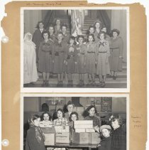 Image of leaf 49 front: 2 photos; St. Mary Hospital 1951; cookie sale 1950