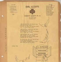 Image of Scrapbook album of Hoboken Girl Scouts, 30 un-numbered leaves with materials from late 1910's to the late 1960's. - Scrapbook