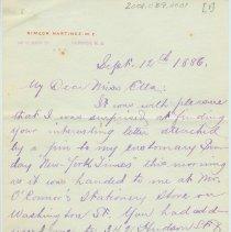 Image of ALS: Simeon Martinez to Etta Burhorn, written in Hoboken, N.J., Sept. 12, 1886. - Letter