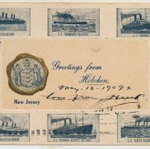 "Image of Postcard ""Greetings from Hoboken, New Jersey"" with gold-edge city seal on front, 1908. - Postcard"
