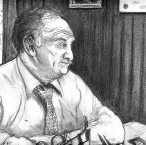 Image of Framed graphite portait of Mayor Thomas Vezzetti of Hoboken, N.J., by Kevin McCloskey, 1986. - Drawing