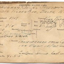 Image of Employee's record card for James Joseph Gaughan from the Bethlehem Steel Hoboken Shipyard. - Records