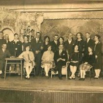 Image of Sepia-tone group photo of the cast of an amateur theatrical production of the Hudsonia Club, Hoboken, no date. ca. 1920. - Print, Photographic