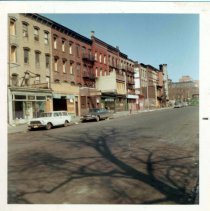 Image of Image: color photo of the west side of the 300 block of River St. looking up to Fourth St,, Hoboken. no date, ca. 1970. - Print, Photographic
