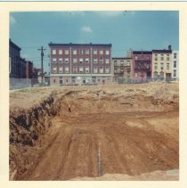 Image of Image: color photo of site preparation on the construction site of Marine View Towers, Hoboken, no date, ca. 1970. - Print, Photographic
