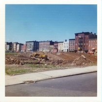 Image of Image: color photo of site preparation on the construction site of Marine View Towers, Hoboken, May, 1973. - Print, Photographic