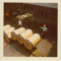 Image of Image: color photo of two longshoremen working in a cargo hold, Hoboken, no date, ca. 1970. - Print, Photographic