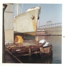 Image of Image: color photo of the S.S. Crna Gora moored at pier D, Hoboken, no date, ca. 1965. - Print, Photographic