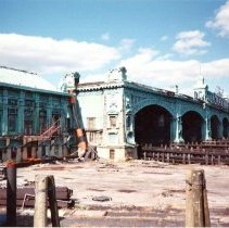 Image of Color photo of the NJ Transit Terminal eastern facade, Hoboken 1989. - Print, Photographic