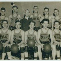 Image of B+W group photo of Our Lady of Grace basketball team, Hoboken, ca. 1938-1939. - Print, Photographic