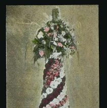 Image of Lantern slide, color, of a fancy floral decoration, used for promotional display in Hoboken, no date, ca. 1920. - Transparency, Lantern-slide