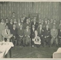 Image of B+W  group photo of men at a Lions Club meeting, Hoboken?, no date, ca. 1950. - Print, photographic