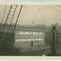 Image of B+W photo of the river end of the Holland America Lines pier shed at Fifth and River Sts. and the Hudson River, Hoboken, no date, ca. 1910 - Print, photographic