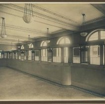 Image of Sepia-tone photo of the customer lobby of the Hoboken Bank for Savings, Hoboken, no date, ca. 1890. - Print, photographic