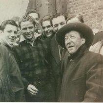 """Image of B+W candid photo of """"On the Waterfront"""" filming in Hoboken: Marlon Brando is third from the left, Hoboken, no date, ca. late 1953-early 1954. - Print, photographic"""