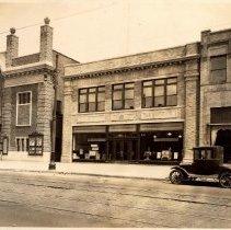 Image of Sepia-tone photo of the Public Service (Gas & Electric) building, 615 Washington St., Hoboken, April 29, 1926. - Print, Photographic