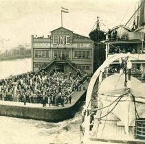 Image of B+W photo of the river end of Pier 1, Hamburg-American Line, Hoboken, no date, ca. 1900-1910. - Print, photographic