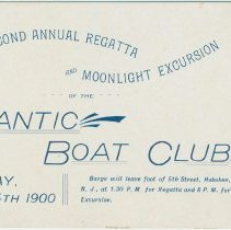 Image of Ticket to the Forty-Second Annual Regatta and Moonlight Excursion of the Atlantic Boat Club, Saturday, July 14, 1900. - Ticket