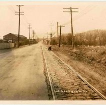 Image of B+W photo of Hackensack Plank Road north of the Hoboken Cemetery, Bergen(?), N.J., no date, ca. 1920. - Print, Photographic
