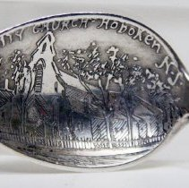 Image of Spoon, sterling silver souvenir, depicting Trinity Church, Hoboken,ca. 1890-1900. - Spoon, Souvenir