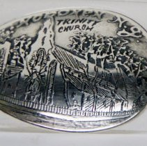 Image of Spoon, sterling silver souvenir, depicting Trinity Church, Hoboken,ca. 1890-1905. - Spoon, Souvenir