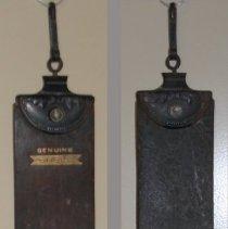 "Image of Leather barber's razor strop embossed ""Geo. E. Lohrman, Hoboken, N.J.,"" n.d., ca. 1890-1910. - Strop"