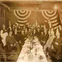 Image of Sepia-tone group photo of the Celebration of Charles Weinacht's 40th Anniversary in Business, Hoboken, Sept. 27, 1917 - Print, Photographic