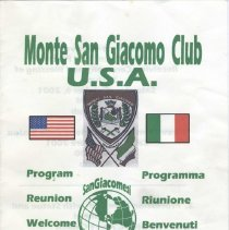 Image of Program for Monte San Giacomo Club annual ceremony and blessing of the Statue, Hoboken, October 6-20, 2001. - Program