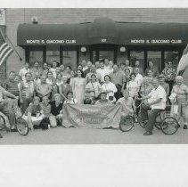 Image of B&W group photo of Monte San Giacomo Club members and Museum guests, Hoboken, July 9,2000. - Print, Photographic