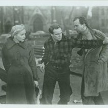 """Image of B+W copy photo of an """"On the Waterfront"""" movie still showing Marlon Brando and Eva Marie Saint in Church Square Park, Hoboken, N.J., no date, ca. Nov. - Print, photographic"""