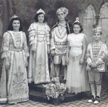 Image of B+W group photo of St. Ann's Royalty, Bazaar, 1939 for St. Ann's Church, Hoboken, 1939. - Print, photographic