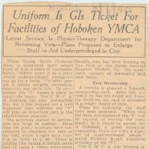 Image of Newspaper clipping: Uniform is GIs Ticket for Facilities of Hoboken YMCA. Hudson Dispatch, August 1, 1945. - Clipping, Newspaper