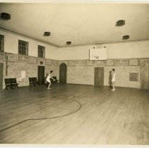 Image of Sepia-tone photo of the boy's gymnasium at the Y.M.C.A., 13th & Washington Street, Hoboken, no date, ca. 1929. - Print, Photographic