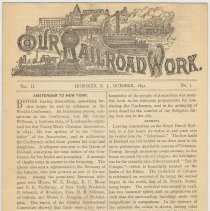 Image of Our Rail Road Work. Vol. I, No. 1, Oct. 1890. Published by the Rail Road Dept., Y.M.C.A., Hoboken, N.J. - Periodical